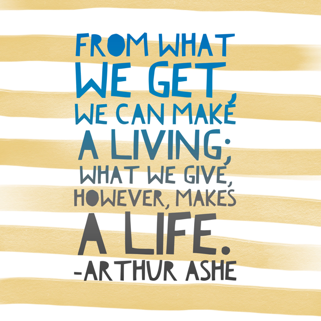 What we give makes a life