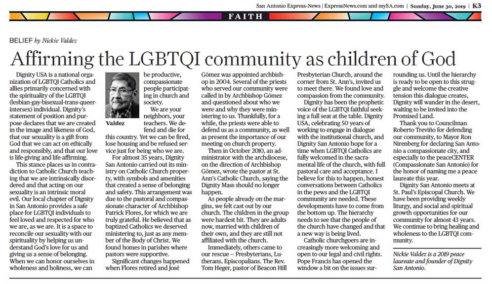 Nickie Valdez: Affirming the LGBTQI community as children of God