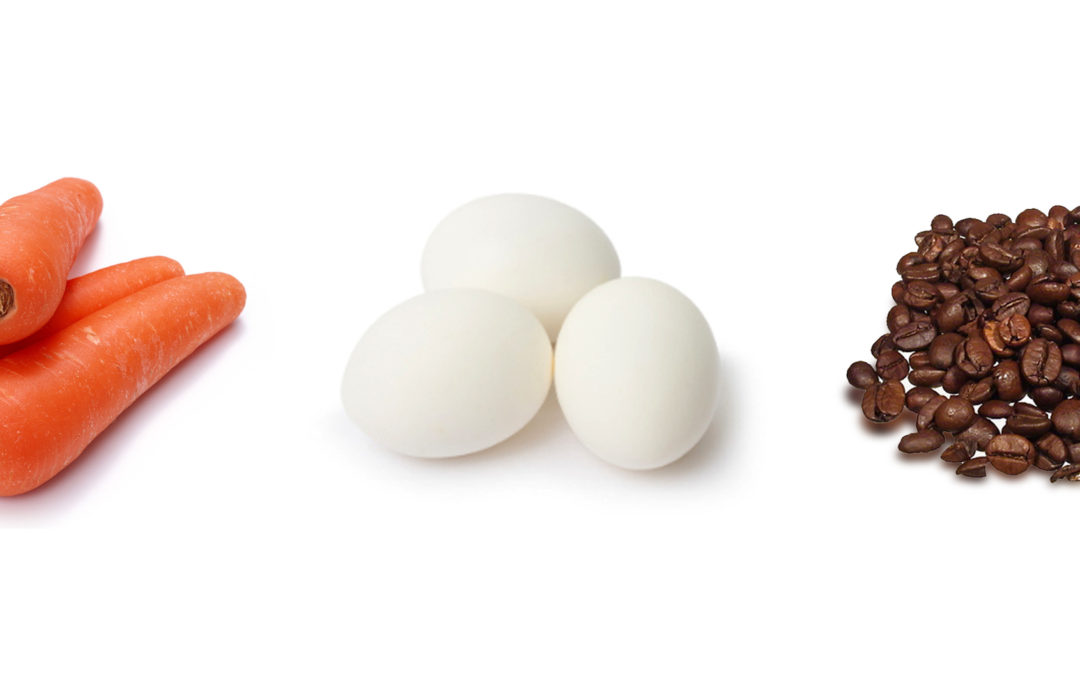 The carrot, the egg, and the coffee bean