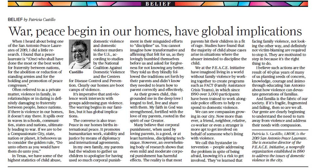 War, peace begin in our homes, have global implications