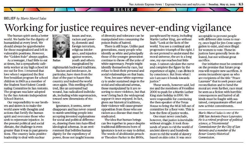 Working for justice requires never-ending vigilance