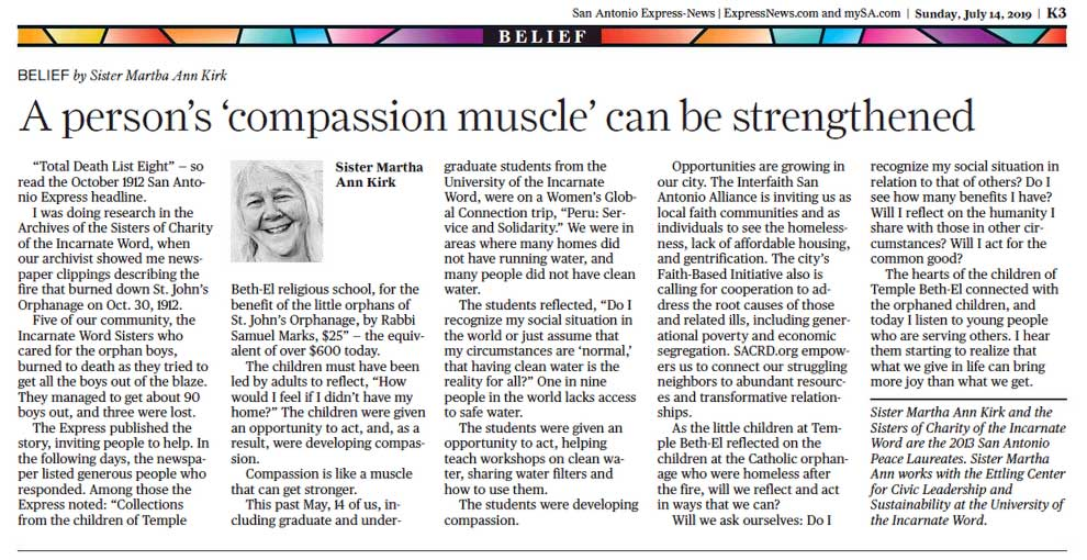 Sr. Martha Ann Kirk: A person's 'compassion muscle' can be strengthened