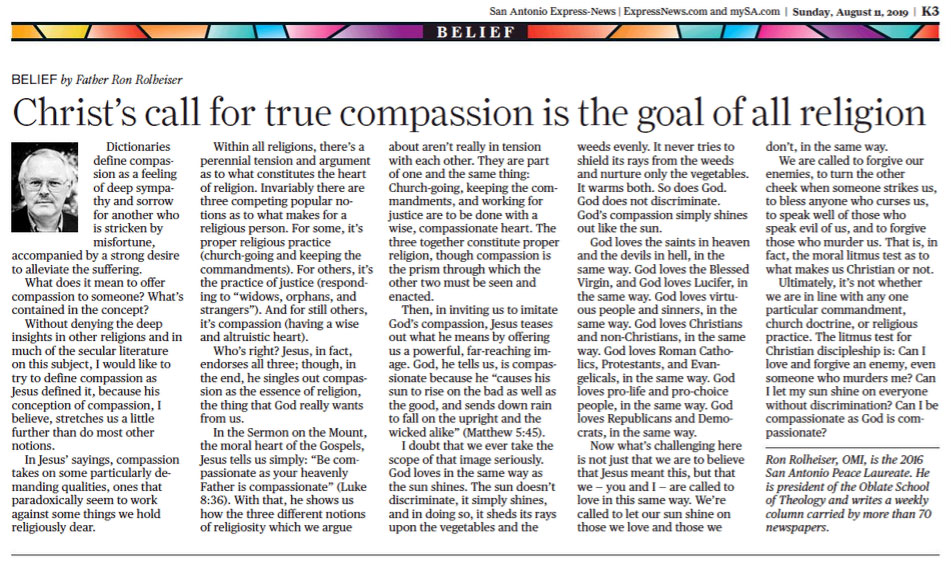 Father Ron Rolheiser: Christ's call for true compassion is the goal of all religion